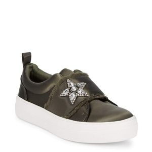 Steve Madden Olive Satin Star Slip-On Sneakers